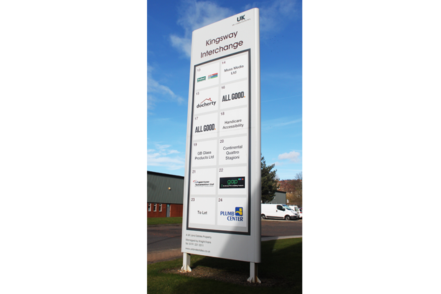 A monolith sign for the Kingsway interchange in Team Valley